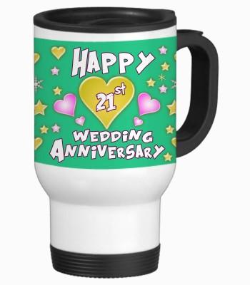 Sajawat Homes 21st Happy Anniversary White Travel Stainless Steel Mug