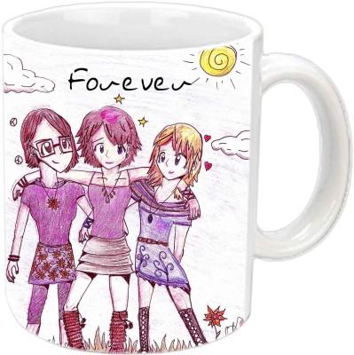 Jiya Creation1 Forever Friends White Ceramic Mug