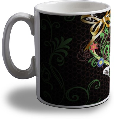 Artifa Heart With Flowers And Butterfly Porcelain, Ceramic Mug