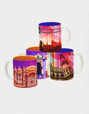 Tangerine Indie Tadka Hyderabad & Jaipur Porcelain Mug