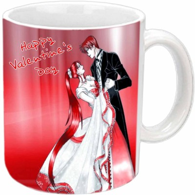 Jiya Creation Dancing Couple Valentine White  Ceramic Mug