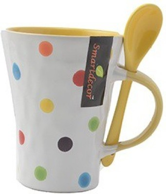 Pratha Unique Dotted Cup With Spoon Ceramic Mug