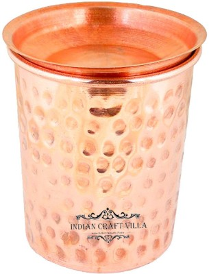 Indian Craft Villa IndianCraftVilla Pure Copper Small Hammered Glass with Lid - 250 ML Serving Water - Home, Hotel, Restaurant, Good Health, Ayurveda Healing Copper Mug