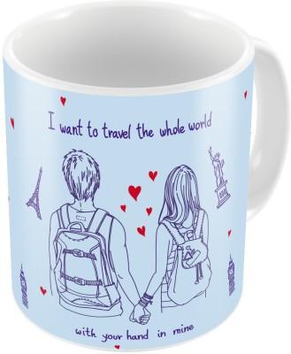 Indiangiftemporium Blue Designer Romantic Print Coffee  705 Ceramic Mug