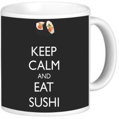 Rikki Knight LLC Knight Ceramic Coffee , Keep Calm and Eat Sushi Black Color Ceramic Mug