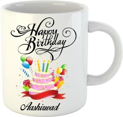 HuppmeGift Happy Birthday Aashirwad White  (350 ml) Ceramic Mug