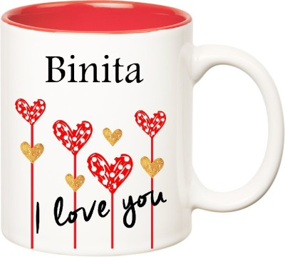 Huppme I Love You Binita Inner Red  (350 ml) Ceramic Mug