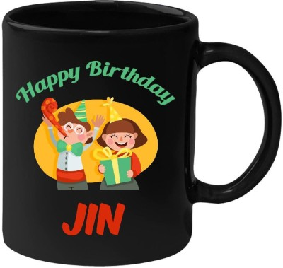 HuppmeGift Happy Birthday Jin Black  (350 ml) Ceramic Mug