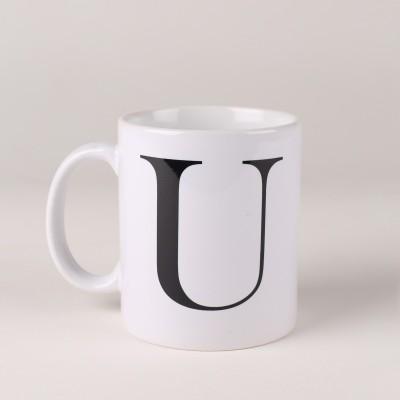 LetterNote Monogram U Ceramic Mug