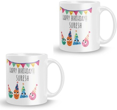 posterchacha Suresh Personalised Custom Name Happy Birthday Gift Tea And Coffee  For Gift Use Ceramic Mug