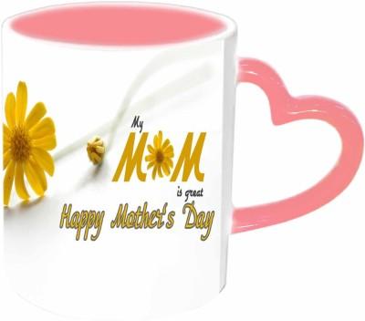 Jiya Creation1 MOM is great Pink Heart Handle Ceramic Mug