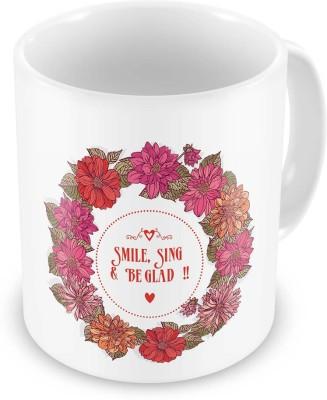 Indian Gift Emporium Floral Printed Design White Delightful Coffee  602 Ceramic Mug