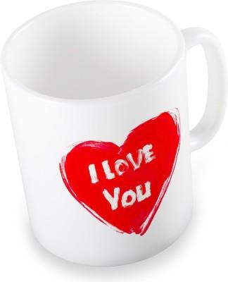 Indian Gift Emporium Exquisite Cute I Love You Heart Printed Coffee  504 Ceramic Mug