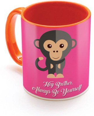 SKY TRENDS GIFT Hey Brother Always Be Yourself With Funny Monkey Color Gifts For Birthday And Anniversary Inner Color Orange Ceramic Mug