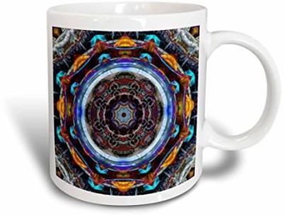3dRose mug_173470_1 Reflective Fractal Mandala Ornate and Colorful Balanced Mandala Ceramic , 11 oz, White Ceramic Mug