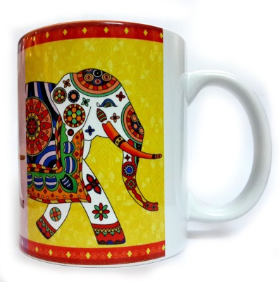 Indiavibes Printed Ceramic Coffee Tea  with Elephant 3 Theme Ceramic Mug