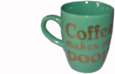 MGPLifestyle Coffee Makes Me Poop Text  in Green Color Ceramic Mug