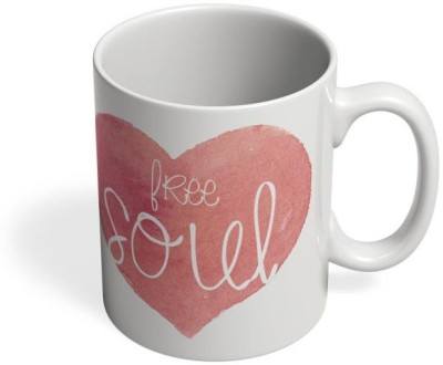 PosterGuy Free Soul Soul, Zen, Peace, Free ,Independent, Heart, Pink, Typography Ceramic Mug