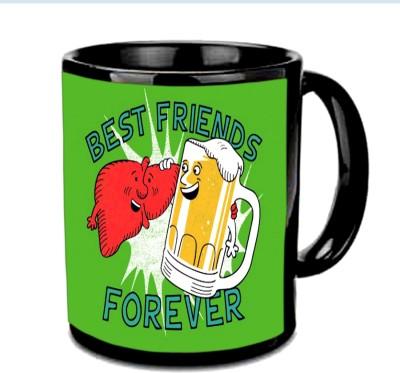 Jiya Creation1 Friend Forever Black Ceramic Mug
