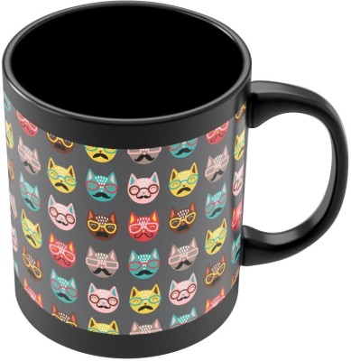 PosterGuy Quirky Moustache Cats Pattern Quirky Ceramic Mug