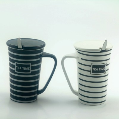 Importwala Stripped Tea Time Coffe / Milk s with lid and spoon- Set of 2 Ceramic Mug