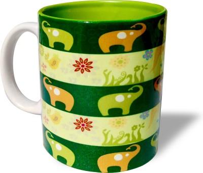 Blue Sky Designz Multi Elephant Dark Green Ceramic Mug