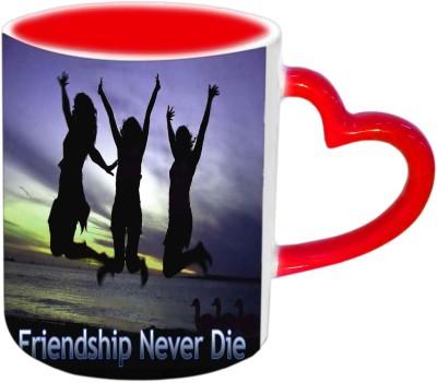 Jiyacreation1 Friendship Never Die Red Heart Handle Ceramic Mug