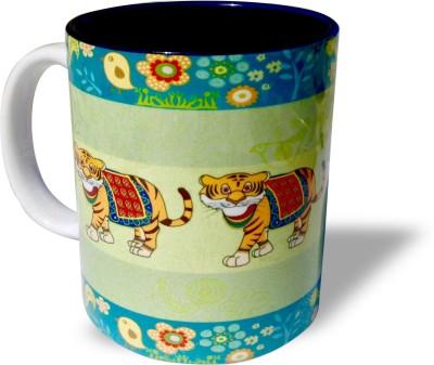 Blue Sky Designz Decorated Tiger - Grey Green Ceramic Mug