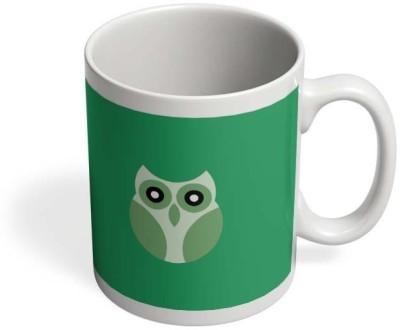 PosterGuy Light Green Cute Little Owl Bird Cartoon Green Backgrounds, Nature, Night,Old Fashioned, Ornate, Outline, Owl, Owlet, Plain Background, Flat Design, Cool Colors, Animal, Birds, Owl, Animal, Shapes, Illustration, Art, Vector, Little Owl, Cu Ceramic Mug