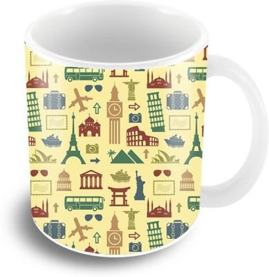 Thecrazyme Retro Travel Coffee Ceramic Mug