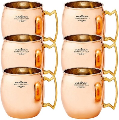 Indian Craft Villa IndianCraftVilla Handmade Set Of 6 Copper Nickle Moscow Mule Solid Round  Cup Volume 530 ML for Use Restaurant Ware Beer Bar Ware Hotel Ware Copper Mug