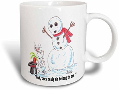 3dRose Kevin Edler Cartoon with a Snowman and Rabbit Ceramic , 15 oz, White Ceramic Mug