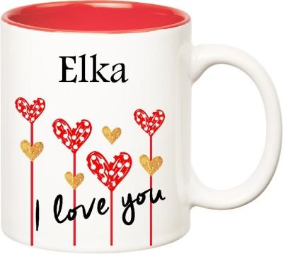 Huppme I Love You Elka Inner Red  (350 ml) Ceramic Mug
