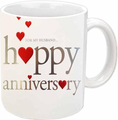 Jiya Creation1 Anniversary Wishes To My Husband White Ceramic Mug