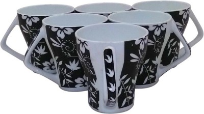 Classique Black And White Coffee/ Tea Cups Set Of 6 Pieces (CLMG2402) Made Of Bone China Mug