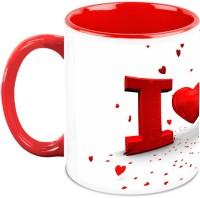 HomeSoGood Lovely Flying Hearts Ceramic Mug(325 ml)