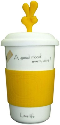 Just For Decor Orange Fun  With Grip & Hand Lid Ceramic Mug