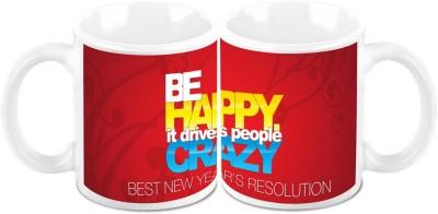 HomeSoGood Stay Happy In New Year (Set Of 2) Ceramic Mug