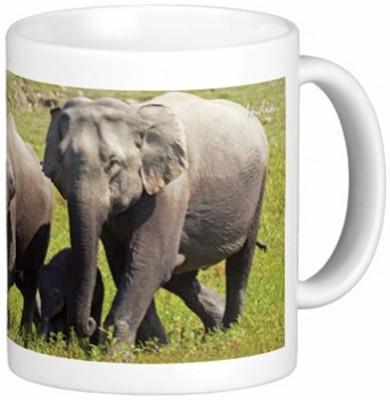 Lion Souvenirs Elephant Family Coffee / Tea  Ceramic Mug