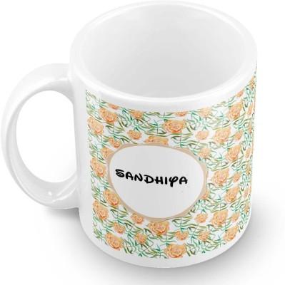 posterchacha Sandhiya Floral Design Name  Ceramic Mug