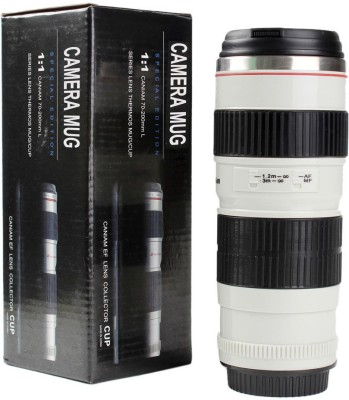 Gadget Paradise White Long Camera Lens Shaped Flask Travel  Stainless Steel Mug