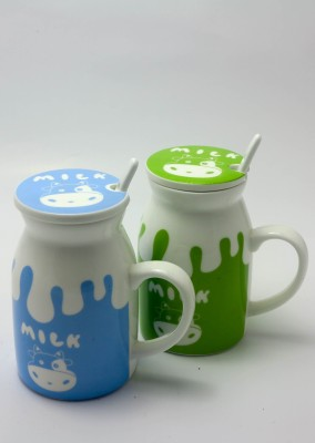Importwala Morning Milk Coffee  Funny Cup with Lid and Spoon - Set of 2 Ceramic Mug