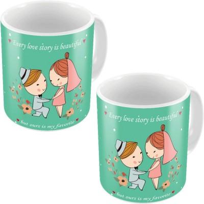 Little India Cute Designer Romantic Printed Coffee s Pair 735 Ceramic Mug