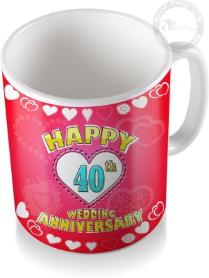 SKY TRENDS GIFT 40th Happy Wedding Anniversary Coffee  Ceramic Mug