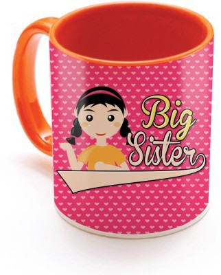SKY TRENDS GIFT Big Sister With Floral Heart Pink Background Special Gifts For Birthday And Anniversary Inner Color Orange  Ceramic Mug