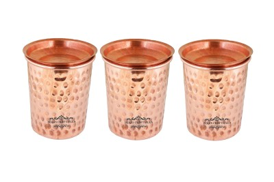 Indian Craft Villa IndianCraftVilla Set Of 3 Pure Copper Small Hammered Glass with Lid - 250 ML Serving Water - Home, Hotel, Restaurant, Good Health, Ayurveda Healing Copper Mug