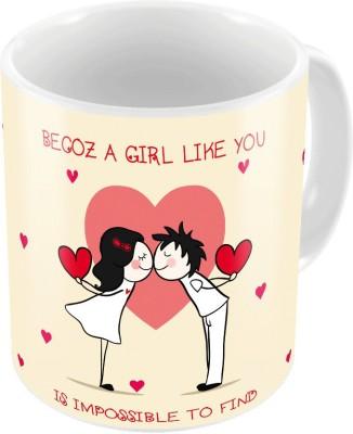 Little India Cream Color Color Romantic Printed Coffee s Pair 741 Ceramic Mug