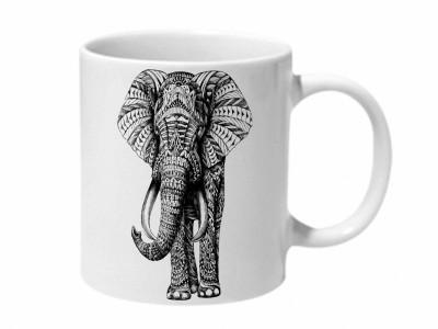 Mooch Wale Ornate Elephant Ceramic Mug