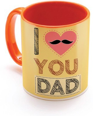 SKY TRENDS GIFT I Love You Dad With Pink Heart And Mustaches Best Gifts For Dad Father,s Day Inner Orange Color Ceramic Mug