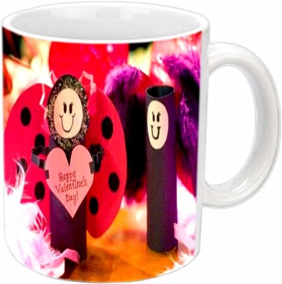 Jiya Creation Smiling Hearts Valentine White  Ceramic Mug